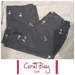 Coral Bay Golf black embroidered capris  8 petite